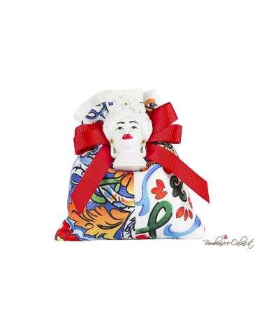 Sacchetto con magnete Testa di moro donna ceramica bianca