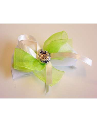 Segnaposto sacchetto organza confetti con coccinella Argento