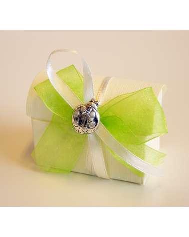Segnaposto box confetti in cartoncino con coccinella Argento