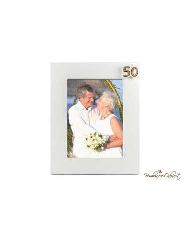 Bomboniera Portafoto con applicazione cuore gesso 50° Anniversario di Matrimonio
