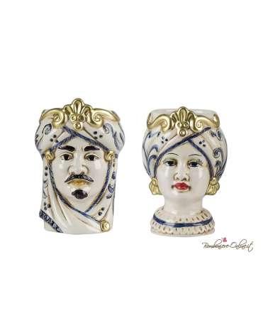 Coppia Vasetti medi Testa di Moro uomo e donna blue e gold