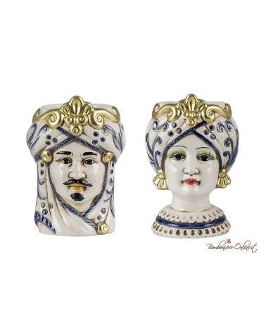 Coppia Vasetti grandi Testa di Moro uomo e donna blue e gold
