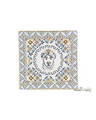 Piatto Testa di moro uomo decorazione trama maiolica