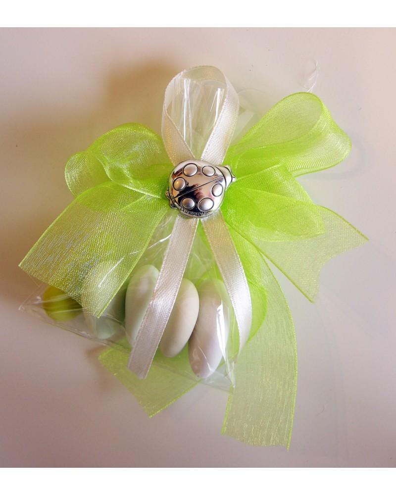 Segnaposto sacchetto confetti con coccinella Argento