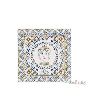 Piatto Testa di moro donna con decorazione trama maiolica