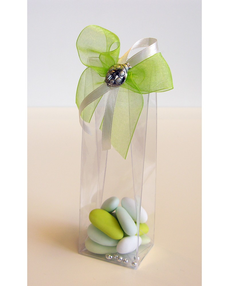 Segnaposto box confetti alto in acetato con coccinella in argento