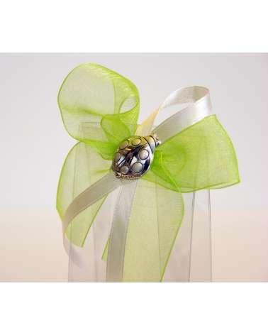 Segnaposto box confetti alto in acetato con coccinella in argento dettaglio