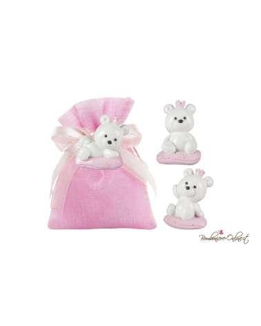 Sacchetto orsetto con corona rosa