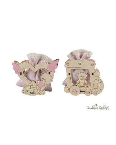 Orsetto in legno portaconfetti con sacchetto trenino e cuore rosa
