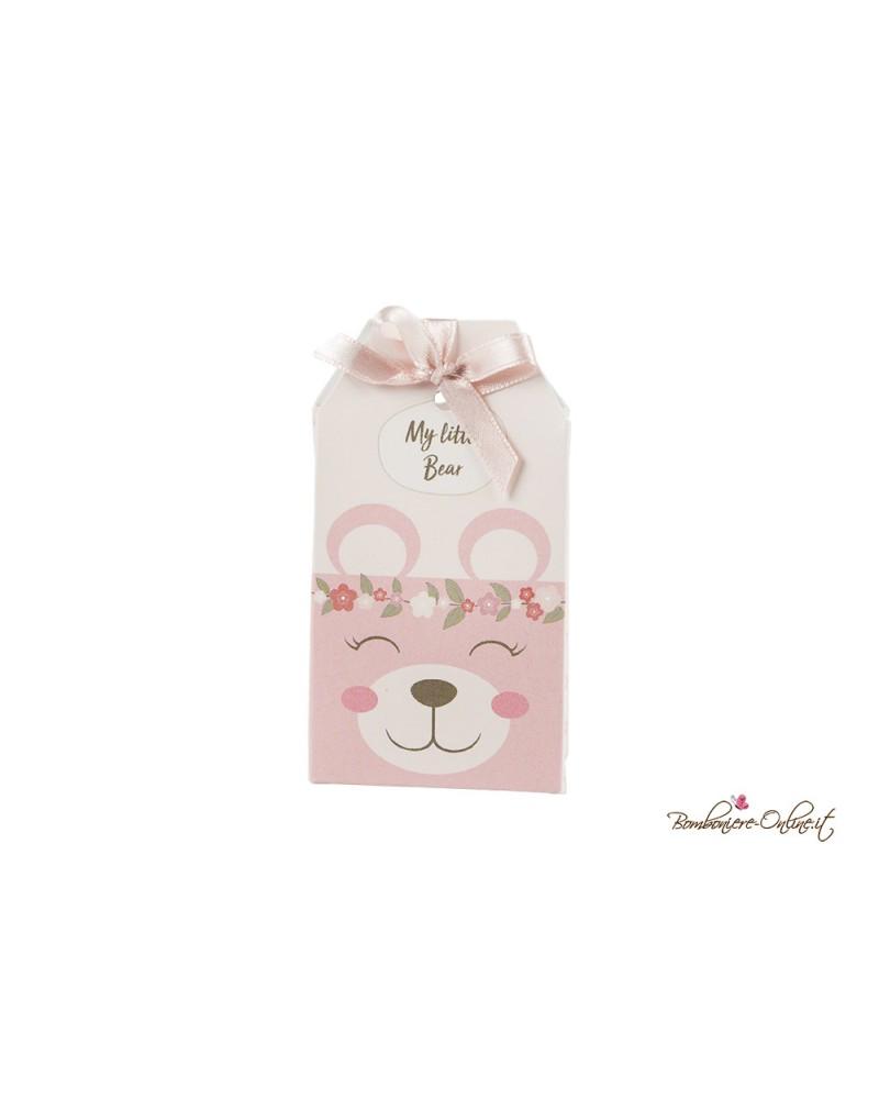 Scatolina busta porta confetti orsetto rosa