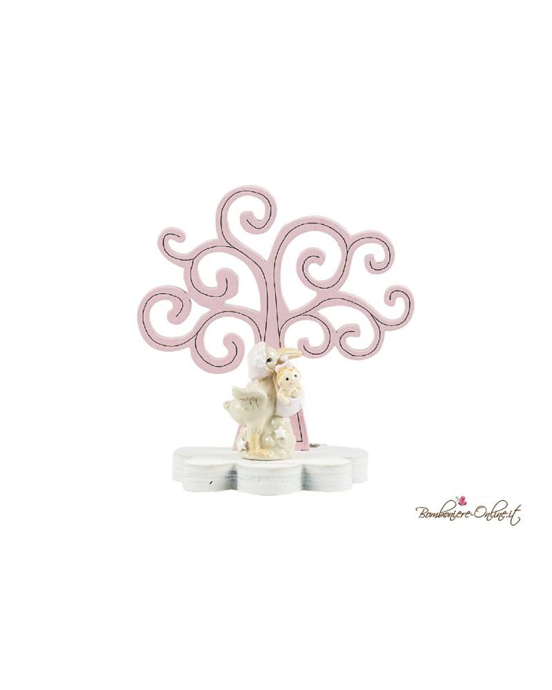 Albero della vita in legno con cicogna clip holder rosa o azzurro