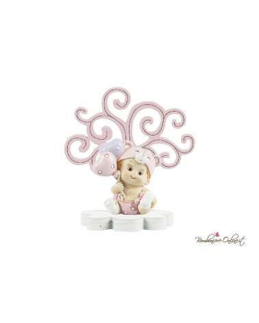 Albero della vita in legno con bimbo/a con palloncini clip holder rosa o azzurro