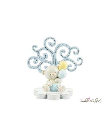 Albero della vita in legno con orsetto e palloncini clip rosa o azzurro