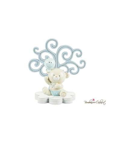 Albero della vita in legno con orsetto e palloncino smile clip rosa o azzurro