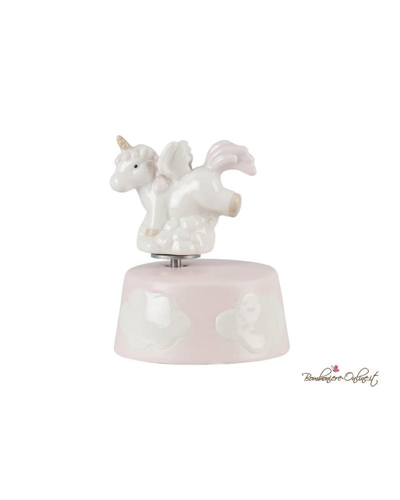 Bomboniera Carillon Unicorno in porcellana rosa o azzurro