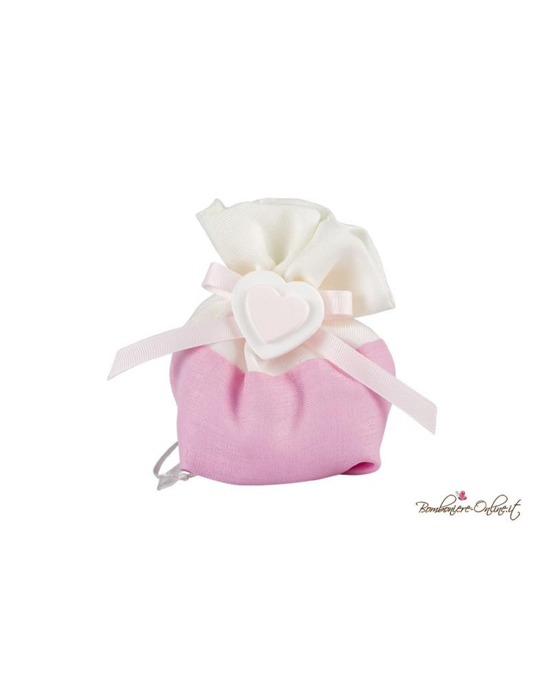 Sacchetto in cotone con gessetto cuore rosa o azzurro