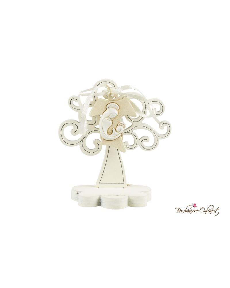 Albero della vita in legno clip holder con angelo e bimbo