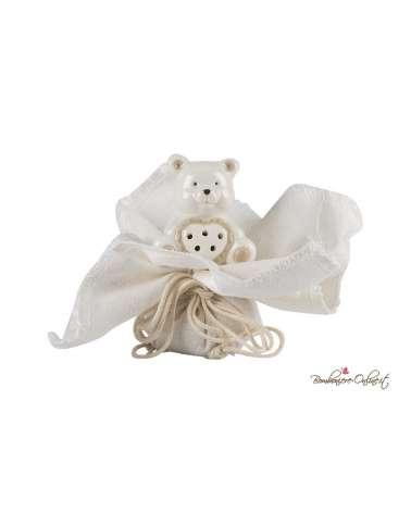 Porta confetti fazzoletto con orsetto cuore