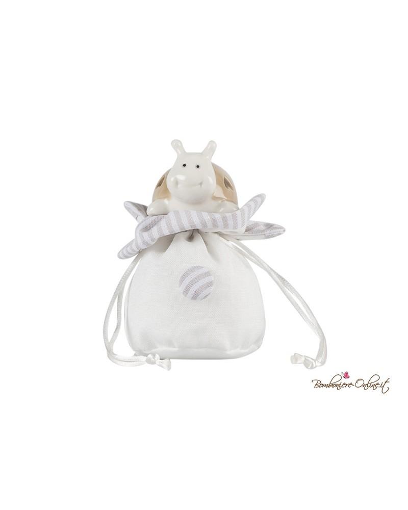 Porta confetti sacchetto con coccinella portafortuna