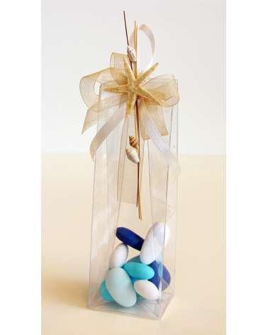 Segnaposto bomboniera Box alto in acetato trasparente con elementi marini naturali