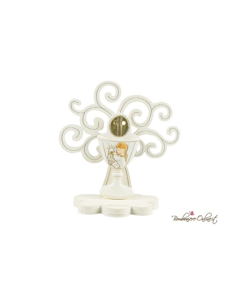 Albero della vita in legno con calice angelo in preghiera Bambina
