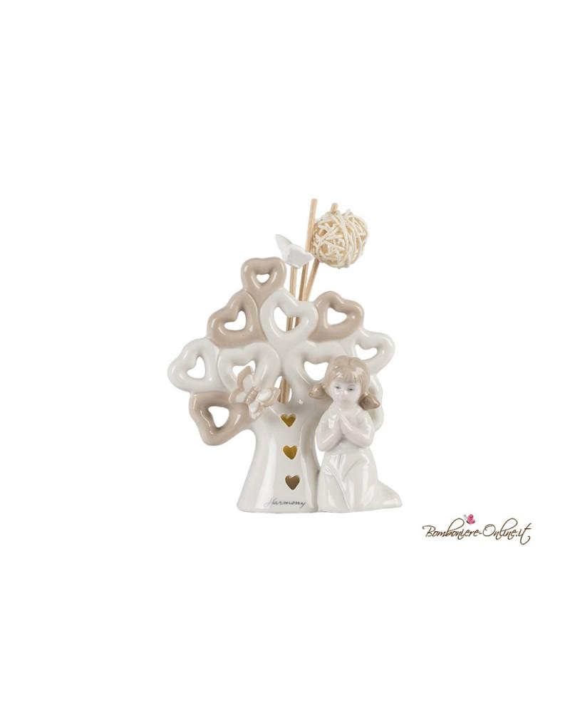 Bomboniera Profumatore bambina in preghiera con albero della vita  e luce led