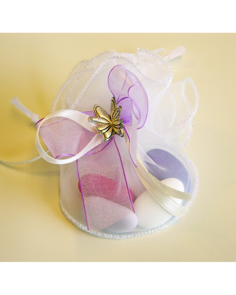 Sacchetto segnaposto con confetti rosa/violetto e farfalla in bilaminato d'argento