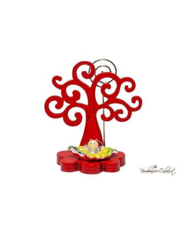 Albero della vita in legno con clip e coccinella argentata Laurea