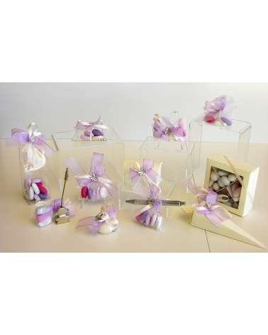Sacchetto segnaposto con confetti rosa/violetto e farfalla in bilaminato d'argento linea