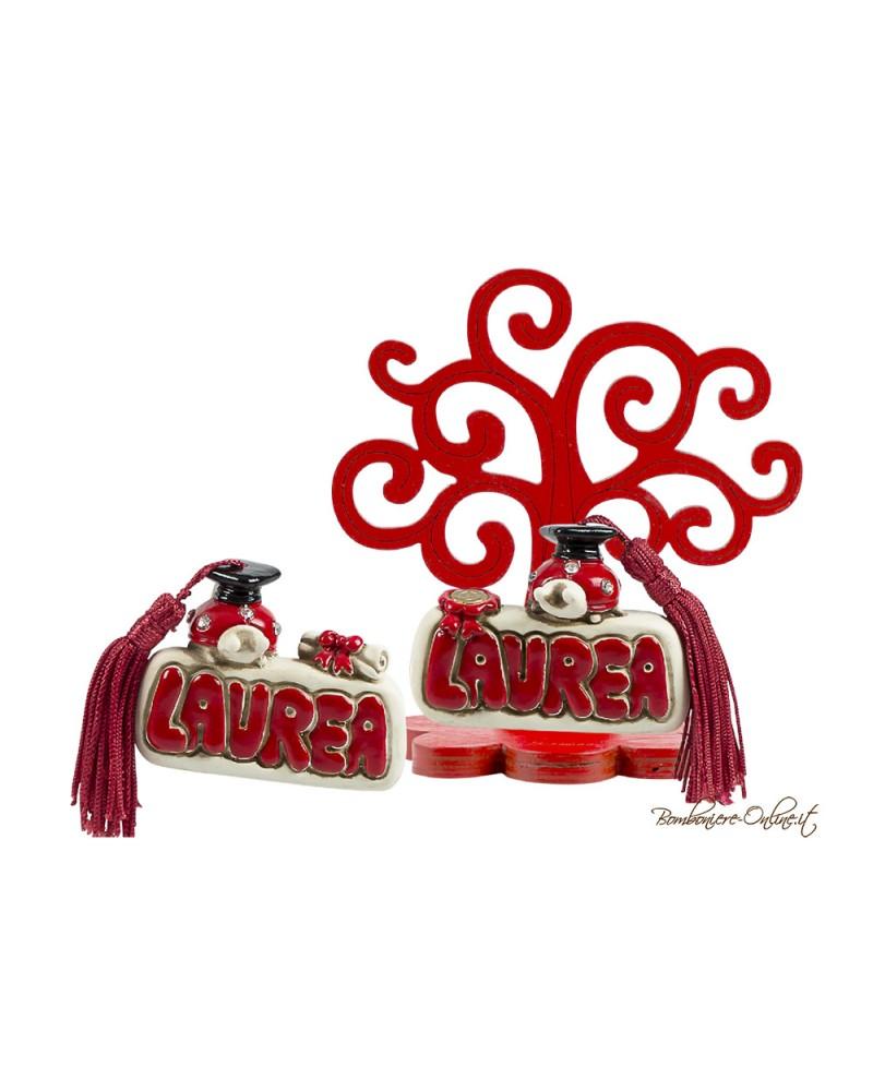 Albero della vita in legno con clip con 2 soggetti assortiti Laurea