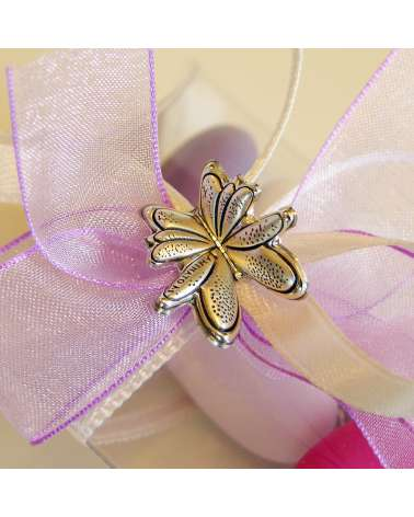Scatolina in acetato trasparente con placchetta farfalla in argento dettaglio