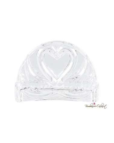 Bomboniera Matrimonio Portatovaglioli in vetro con cigni e cuore