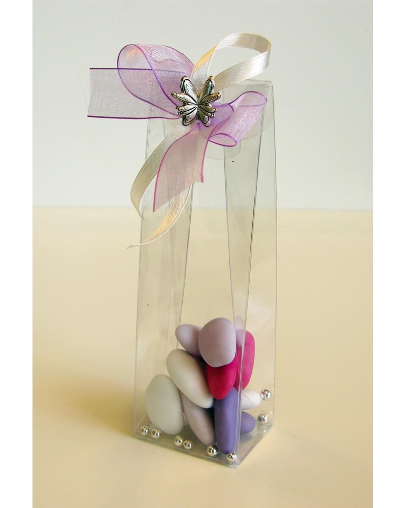 Segnaposto Box cofetti alto trasparente con farfalla in bilaminato argento