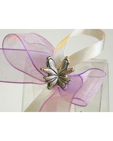 Segnaposto Box cofetti  alto trasparente con farfalla in bilaminato argento dettaglio