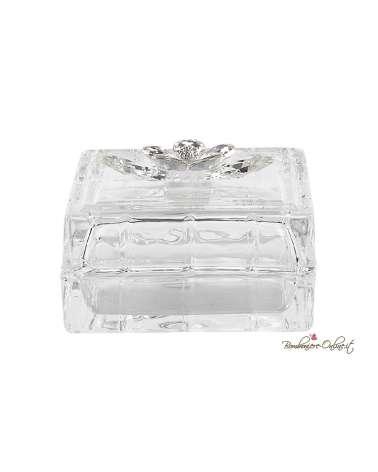 Bomboniera Nozze Scatola quadrata media con fiore crystal