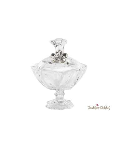 Alzata con coperchio con applicazione fiore crystal prezioso