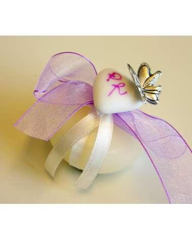 Candela segnaposto monoconfetto con iniziali e farfalla in bilaminato d'argento