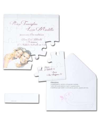 Partecipazione Matrimonio Puzzle con foto sposi