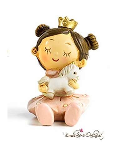 Bomboniera Principessa spiritosa con unicorno seduta