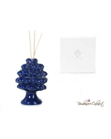 Bomboniera diffusore in porcellana pigna blu