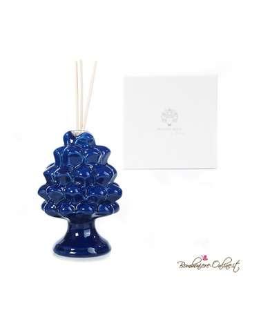 Bomboniera diffusore in porcellana pigna blu con luce