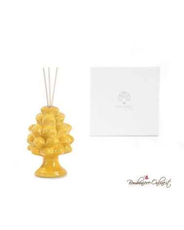 Bomboniera diffusore in porcellana pigna gialla
