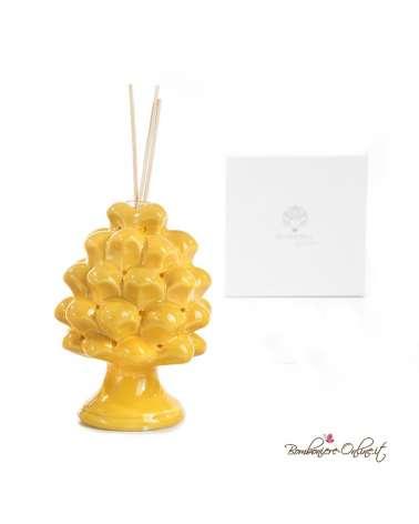 Bomboniera diffusore in porcellana pigna gialla con luce
