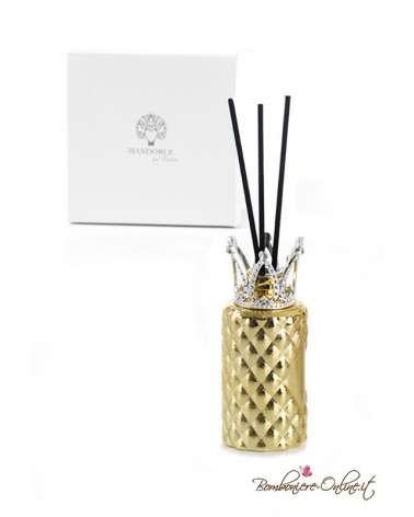 Bomboniera profumatore cilindro oro con corona e brillanti