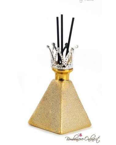 Bomboniera profumatore piramide oro con corona e brillanti