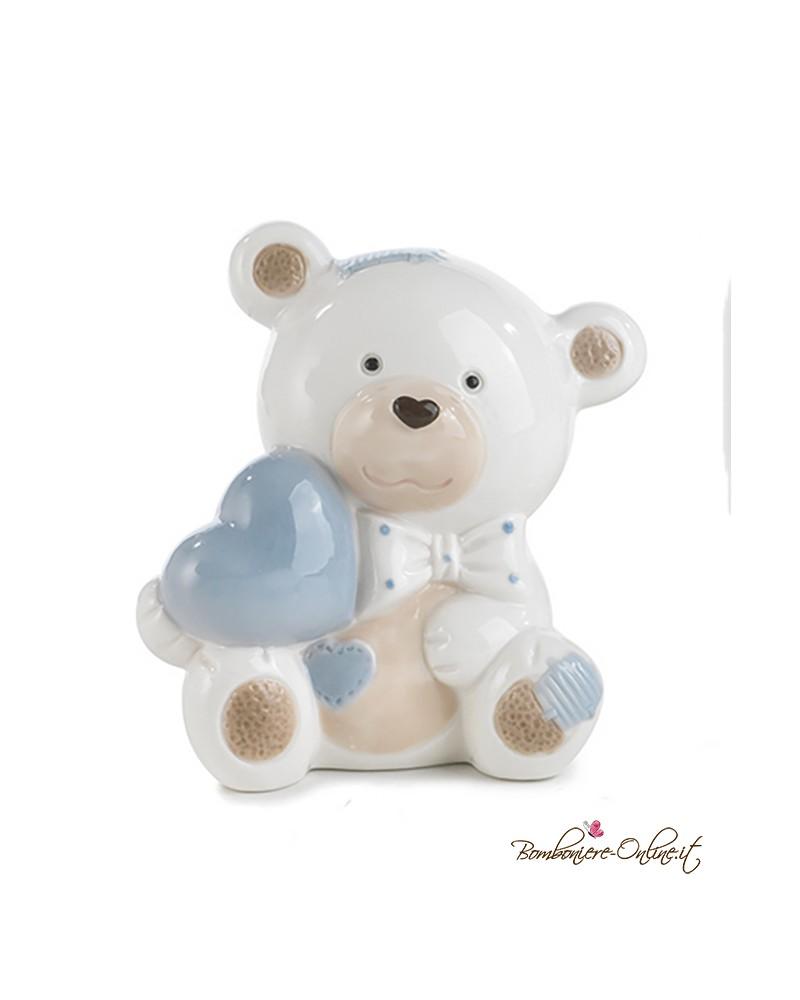 Bomboniera Battesimo Salvadanaio in porcellana orsetto cuore azzurro