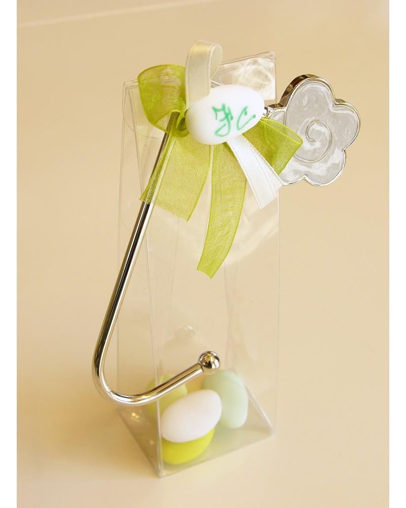 Segnaposto box confetti alto in acetato con gancio portaborse in acciaio