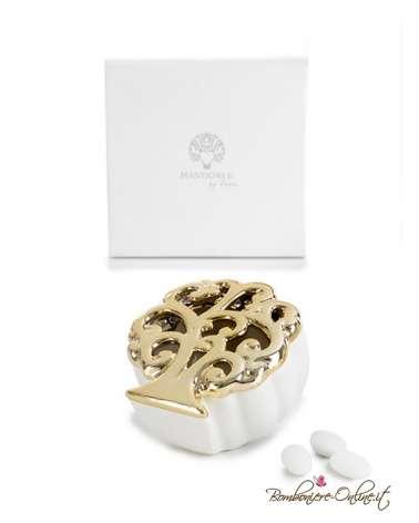 Bomboniera in porcellana scatola con motivo albero della vita con dettagli oro