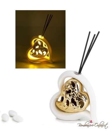 Bomboniera profumatore moderno cuore bianco e oro con luce