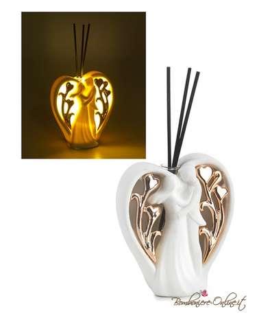 Bomboniera profumatore moderno innamorati con cuore con dettagli ramati e luce